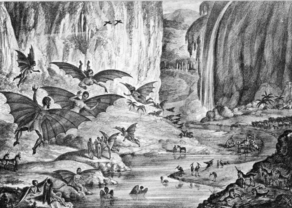 "A lithograph of the hoax's ""ruby amphitheater"", as printed in The Sun. Wikimedia Commons - Public Domain."